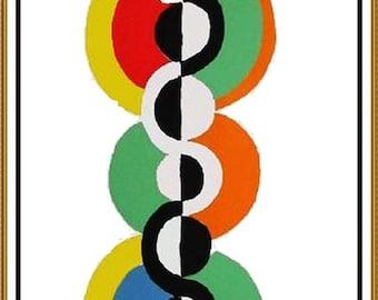 GREAT SALE Endless Rhythm by Modern Artist Robert Delaunay Counted Cross Stitch Chart Graph Pattern
