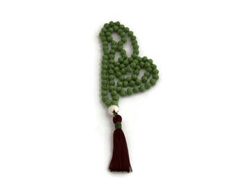 Green beads necklace - maroon tassel - boho necklace -gifts for her - gifts under 30 - hand knotted necklace
