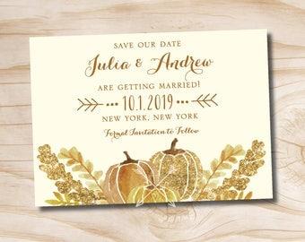 Watercolor Fall Glitter Pumpkin Leaves Fall Save the Date - Printable digital file or printed invitations