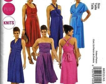 McCall's M6353 Knit Evening Dress Sewing Pattern 6353 UNCUT Plus Size 18W, 20W, 22W, 24W