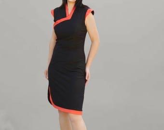 Black and orange Oriental dress in stretch jersey