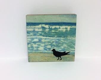 Sea Bird Art - Black Sea Bird Art Print - Sea Bird Art Print Paper Lithography - Sea Bird by the Ocean Art Print - 4x4 Art Block