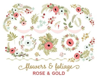 Valentine Flowers Clip Art | Wedding Wreath | Greenery Clipart | Rose and Gold Floral Graphics