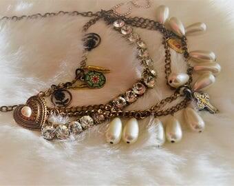 Statement Necklace Vintage Bohemian Gypsy Bibb Dangle Jewelry
