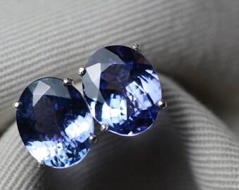 Tanzanite Earrings, 7.18 Carat Tanzanite Stud Earrings, Oval Cut, Sterling Silver, IGI Certified, Statement Piece, Anniversary Birthday