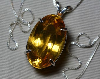 Citrine Necklace, Certified 31.21 Carat Citrine Pendant Appraised 1,550.00 Sterling Silver, Oval, Real Genuine Natural, November Birthstone