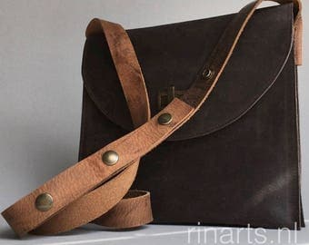 Messenger style bag in brown waxed leather, shoulder bag with three compartements.  Leather cross body bag. PROMOTION offer