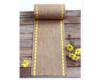 Outdoor Table Runner - Yellow Ribbon & Burlap Table Topper - Home Decoration - Refresh, Renew Your Space