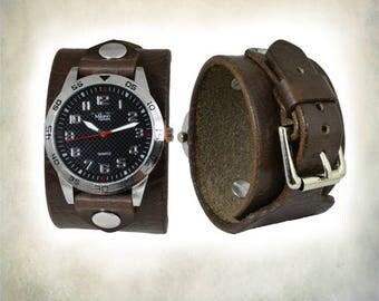 Dark Brown Leather Cuff Watch; Wrap Around Cuff