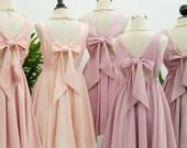 Pink blush dress Pink dress backless dress Pink party dress Pink prom dress Pink cocktail dress bow back dress Pink  bridesmaid dresses