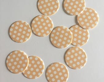 "1"" pre-cut CIRCLE CONFETTI (100 pc)  --  Tangerine Orange/White Polka Dot --  create you own garland, envelope seals, favor tags & mor"