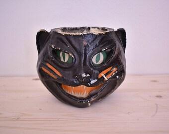 Vintage Halloween black cat luminary - papier mache - 1940's Halloween decor