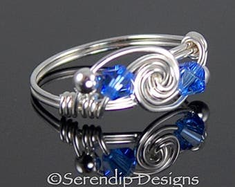 September Birthstone Ring, Silver Twist Double Swarovski Crystal Sapphire Ring, Argentium Silver Wire Wrapped Ring