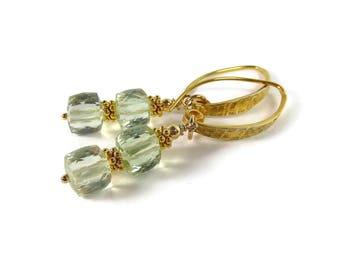 Prasiolite Earrings, Green Amethyst Earrings, Green Stone, Semi Precious, Beaded Earrings, Gold
