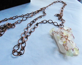 Bermuda Sea Glass and Jade Necklace, Rose Gold Wrapped Seaglass, Genuine Sea Glass Jewelry, Jade Jewelry, Copper, Long Statement Necklace
