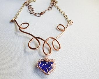 Blue Sea Glass Heart Necklace, Wirecrochet Rose Gold Bezel Seaglass, Lake Michigan Beachglass, Unique Jewelry, Statement Necklace, Cobalt