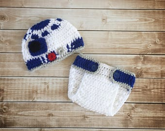 R2D2 Inspired Hat with Matching Diaper Cover/ R2D2 Costume/ Star Wars Inspired Hat Available in Newborn to 24 Months Size- MADE TO ORDER