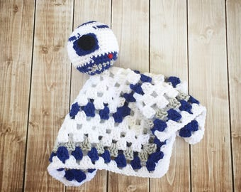 R2D2 Star Wars Inspired Lovey/ R2D2 Security Blanket/ Soft Toy/ Plush Doll/ Stuffed Toy/ Amigurumi Doll- MADE TO ORDER