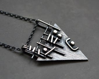 Sterling silver triangle pendant. Sterling silver necklace. Silver pendant. Silver jewellery. Handmade. MADE TO ORDER.