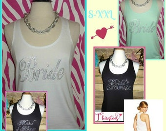 Sparkling Rhinestone Bride tank top discounts available Bachelorette party tank tops bridal party tank black and gold white and gold