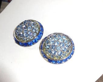 25% Off Vintage Coro Signed 1950s Light and Bright Turquoise blue Silver Round Earrings Mint