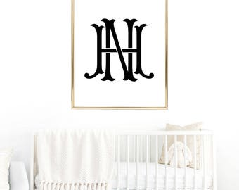 Custom Two Letter Monogram Any Size, Personalized prints, Wedding Invitation, Custom Printable, Art Print, Name Family