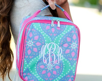 FREE pencil pouch offer FREE monogramming - Personalized Monogrammed Embroidered Hot Pink Lavendar MARLEE Lunch pack Lunch box