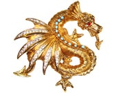 RESERVED FOR NADIA   Rhinestone Dragon Brooch, Schrager, Rare, Collectible, Signed 1940s