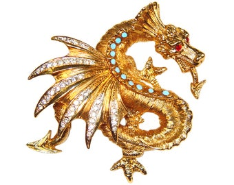 Rhinestone Dragon Brooch, Schrager, Rare, Collectible, Signed 1940s