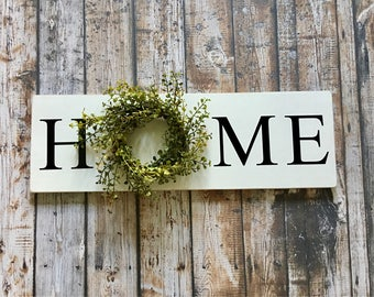 HOME sign with wreath Sign with Wreath Baby Grass Wreath Sign Wood Sign Greenery Wreath Farmhouse Decor
