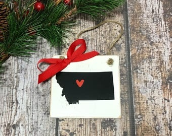 Montana State Christmas Ornament. Personalized Christmas Ornaments State Ornament MT Ornament All states available with a heart on your city
