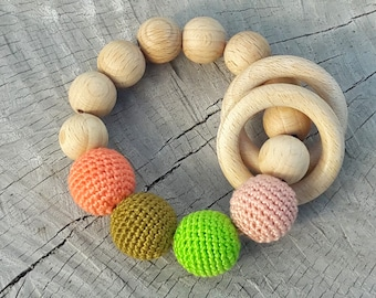 Crochet beads Teething rattle, Baby teething toy, Crochet baby rattle Eco friendly Rattle Baby Shower Gift