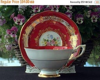 ON SALE Teacup Tea Cup and Saucer - Superb Royal Standard Deep Red Cabinet Set 12962