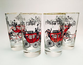 Vintage Libbey Winter Stagecoach Glasses