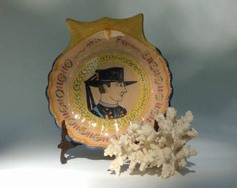 Antique French Henriot Quimper Large Shell Shaped Dish with Portrait of a Breton  -French Framhouse Style