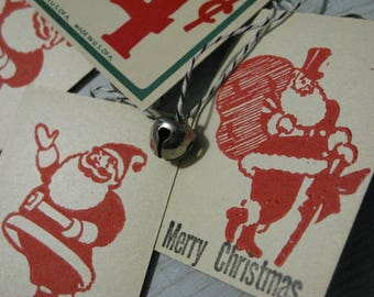 Whimsical Set Lot of 4 Vintage Art Deco Jolly Santa Gift Price Tags Made With Vintage Supplies Bakers Twine Christmas Unique Red Green Black