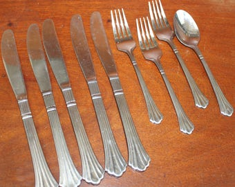 Vintage Flatware with ridges and flared tip similar to ESTIA DORIAN Stainless Silverware an pattern fan tip BIN 46