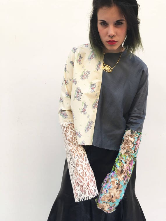 Shirt Blouse Printed Lace Sleeves LOLA DARLING Double Vintage Fabric Gray Silk Shantung + Printed Dogs Cotton Limited Edition Made in Italy