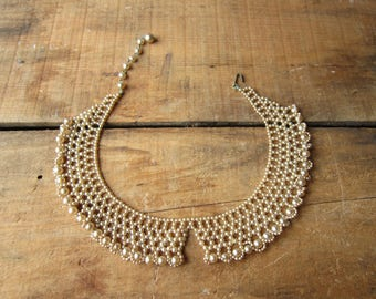 Vintage Beaded Collar Romantic  Bohemian Faux Pearl Collar Necklace