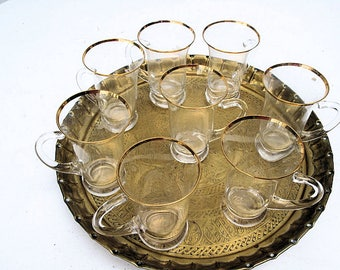 Turkish Tea/Coffee Glasses with Gold Rims and Handles on Brass Tray-Set of 8
