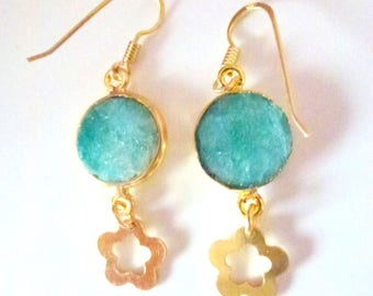 green turquoise floral earrings- gold plated earrings