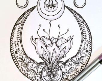 Adult Kids Coloring Page crescent Moon Original Lotus Flower Nature Art