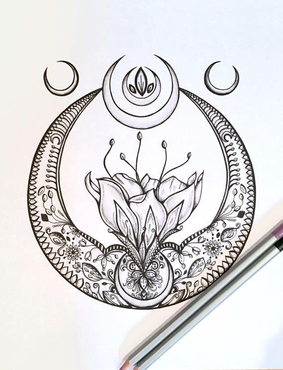 adult kids coloring page crescent moon original lotus flower