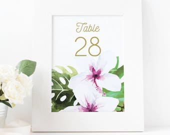 tropical wedding table numbers, tropical table numbers, hawaiian wedding table numbers, destination wedding table numbers, beach wedding