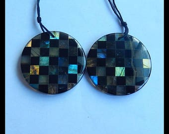 New,Unique  Design Natural Labradorite,Obsidian Intarsia Gemstone Earring Bead,29x29x4mm,11.7g,-E7003