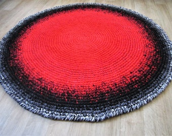 Crochet Rug, Round Rug,Red poppy rug, Rag Rug, Area Rug,Handmade Rug, Size - 121 cm,  3.96' red , black, grey, ready for sale