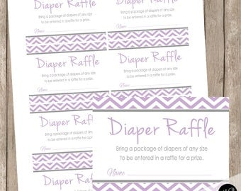 Diaper Raffle Card - purple and gray dandelions - baby shower,  purple and gray, Diaper Raffle Ticket Request card INSTANT DOWNLOAD pd1