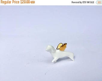 SALE Flying Dachshund Dog with gold wings, Ceramic miniature sculpture Porcelain figurine, sweet minature animal white Kitten