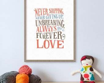Always and Forever Love, Jesus Storybook Bible, Childrens Bible, Bible Art, Biblical, Kids Wall Art, Nursery Art, Gods Love, Spiritual