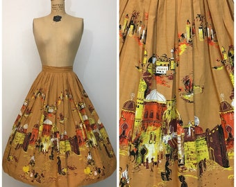 1950s Millworth Scenic Casbah Arabian Novelty Print  Border Skirt 50s Cotton